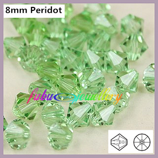 Transport Gratuit! 144pcs/Lot, AAA Chineză de Calitate de Top de 8mm Peridot Cristal Bicone Margele